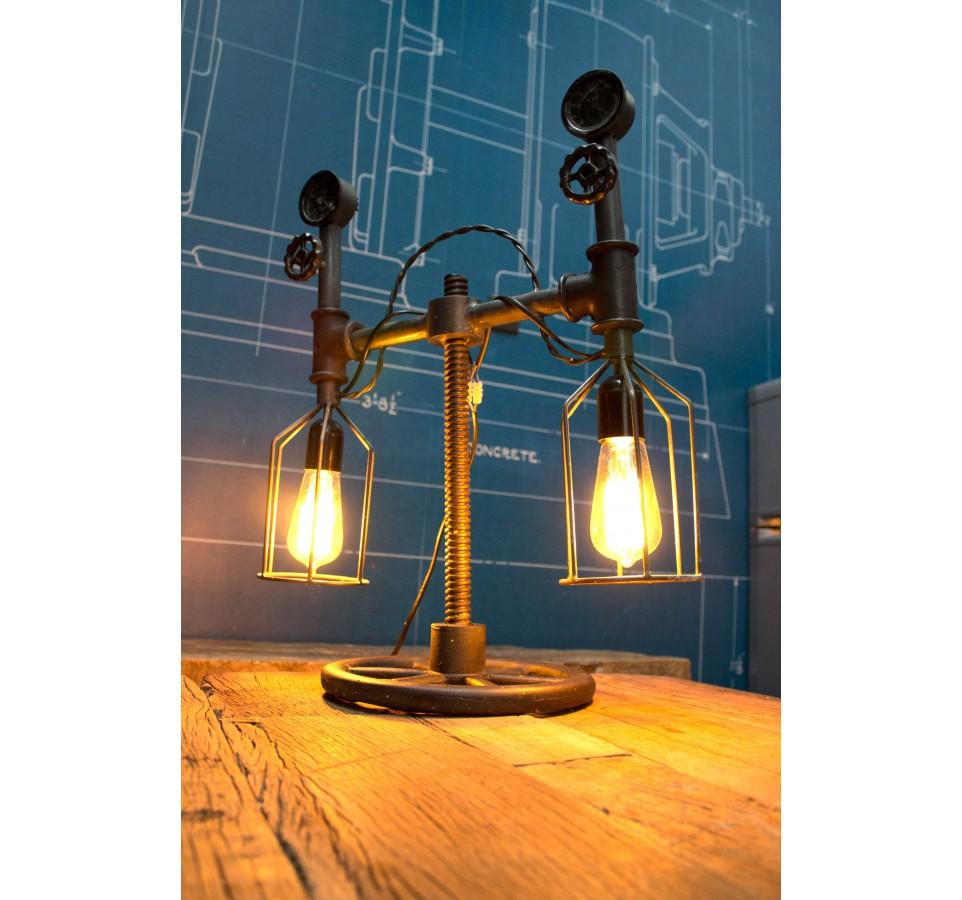 Lampe à poser Tube & Compteur Vintage Industriel 2ème modèle