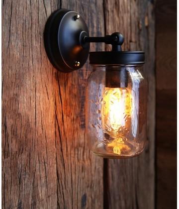 Applique murale Vintage Bocal style Mason Jar- Pour Ampoule a filament Edison