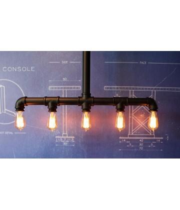Suspension a tube acier style Vintage  industriel - Pour 5 Ampoules a filament Edison