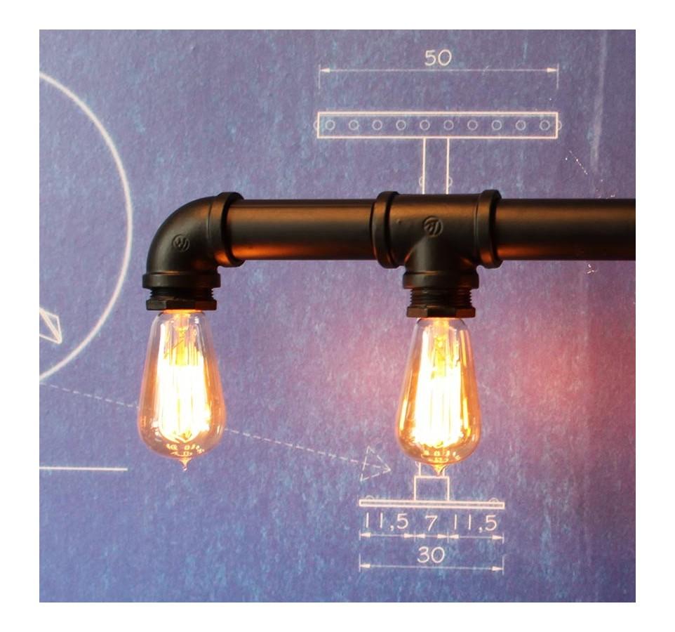 suspension tubes vintage style industriel pour 5 ampoules filament edison. Black Bedroom Furniture Sets. Home Design Ideas