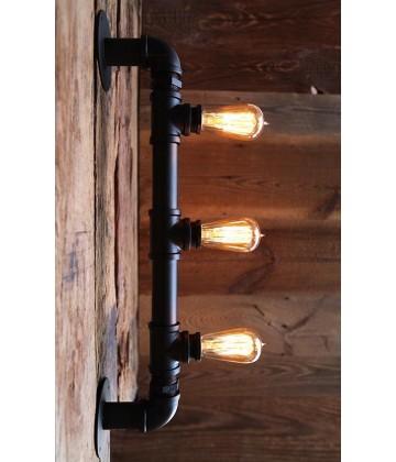 Applique murale Vintage a Tube acier  3 bras style industriel - Pour 3 Ampoules a filament Edison