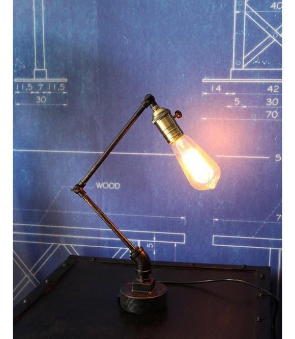 Lampe a poser tube acier vintage industriel ampoule à filament