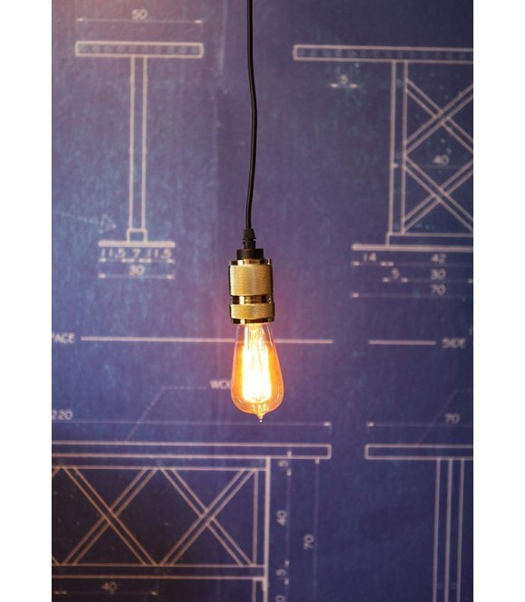 suspension a douille laiton design ampoule a filament Edison