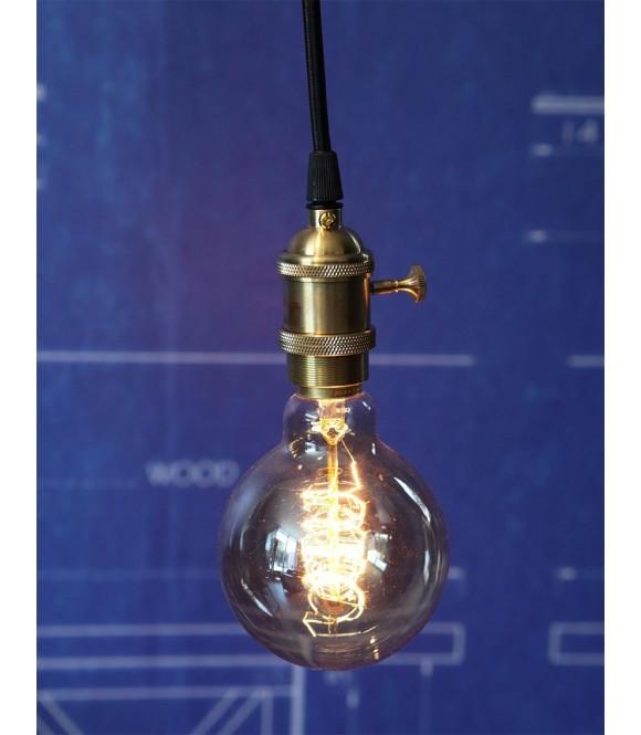suspension douille cuivre a interrupteur fil textile  noir / rouge  Ampoule à filament Edison
