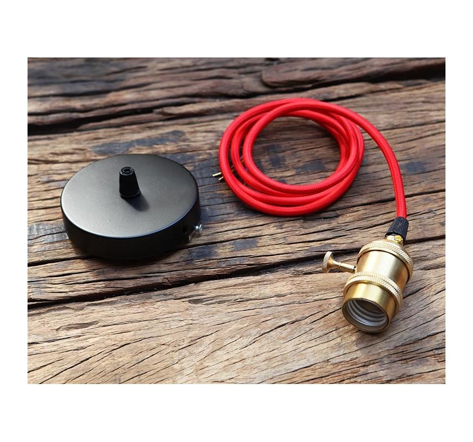 Suspension douille cuivre a interrupteur pour ampoule filament edison - Kit douille cable interrupteur ...