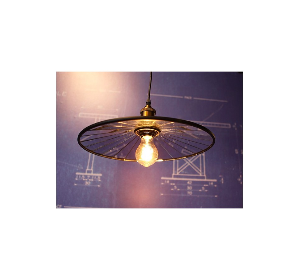 Suspension suspension assiette a miroirs vintage style - Suspension ampoule filament ...