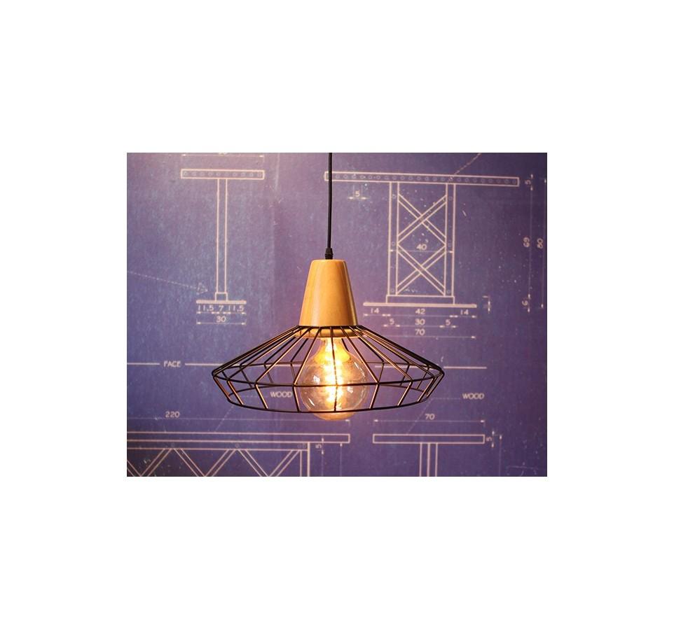 suspension grille acier et bois pour ampoule a. Black Bedroom Furniture Sets. Home Design Ideas