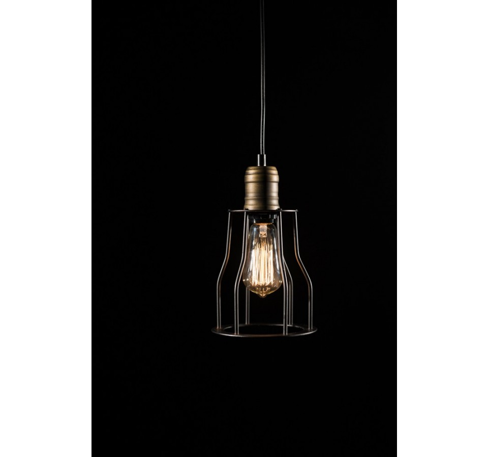 suspension vintage cage pour ampoule filament edison st58. Black Bedroom Furniture Sets. Home Design Ideas