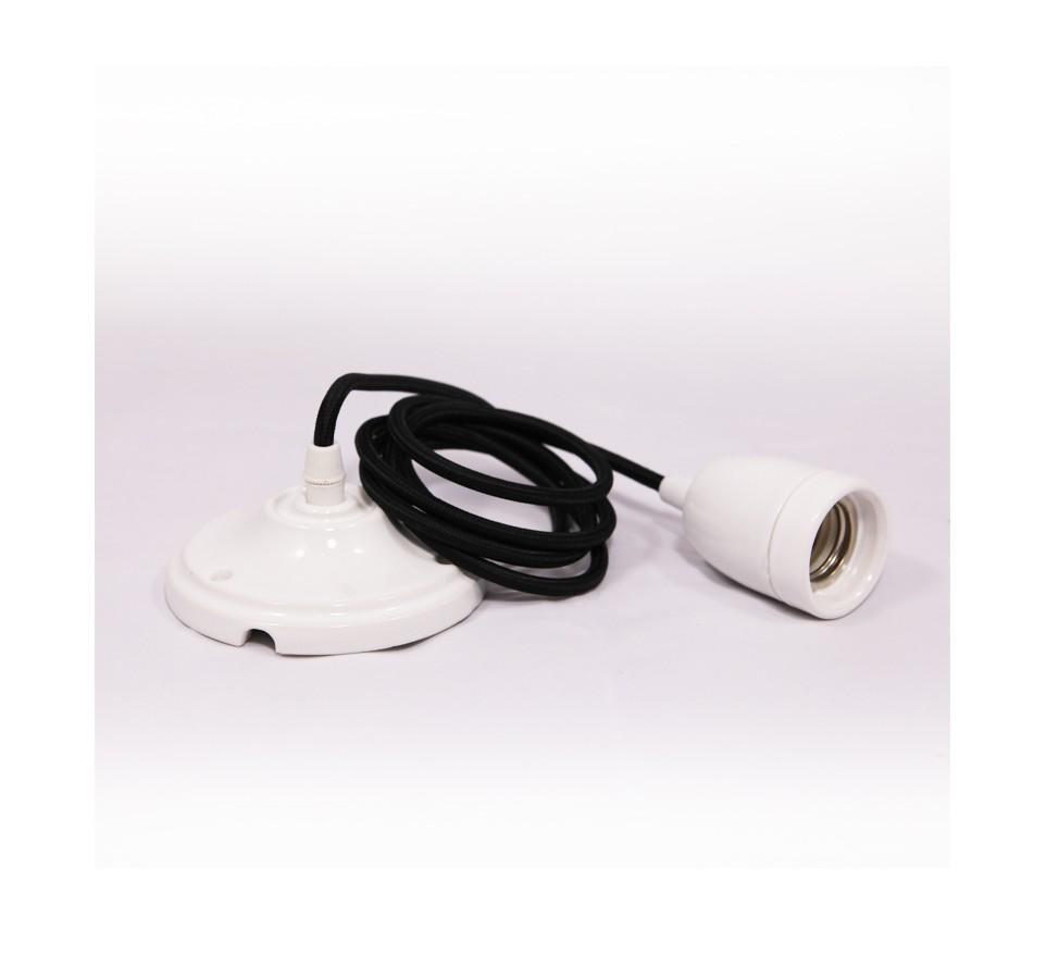suspension douille porcelaine blanche et cable textile noir pour ampoule a filament edison. Black Bedroom Furniture Sets. Home Design Ideas