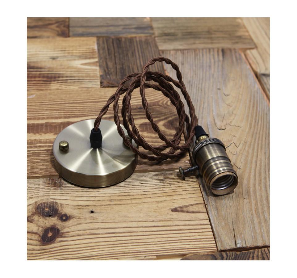 Suspension douille vieux bronze et cable textile torsade - Suspension ampoule filament ...