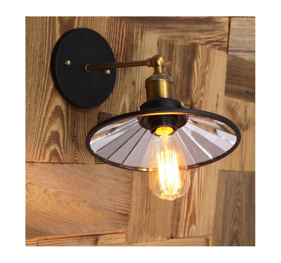 applique laiton avec abat jour miroir acier noir style vintage industriel. Black Bedroom Furniture Sets. Home Design Ideas