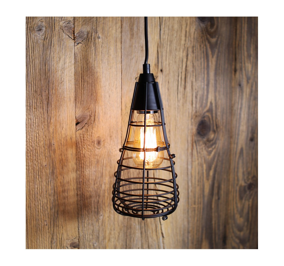 Suspension vintage cage ferm e pour ampoule filament edison st58 - Suspension vintage industriel ...