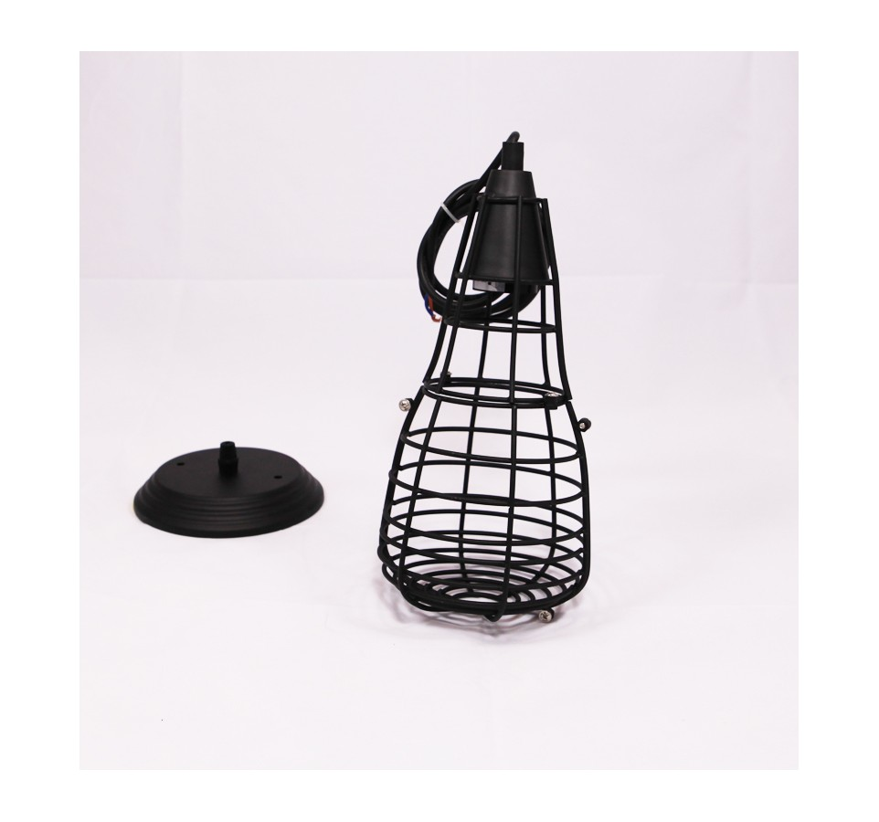 suspension vintage cage ferm e pour ampoule filament edison st58. Black Bedroom Furniture Sets. Home Design Ideas