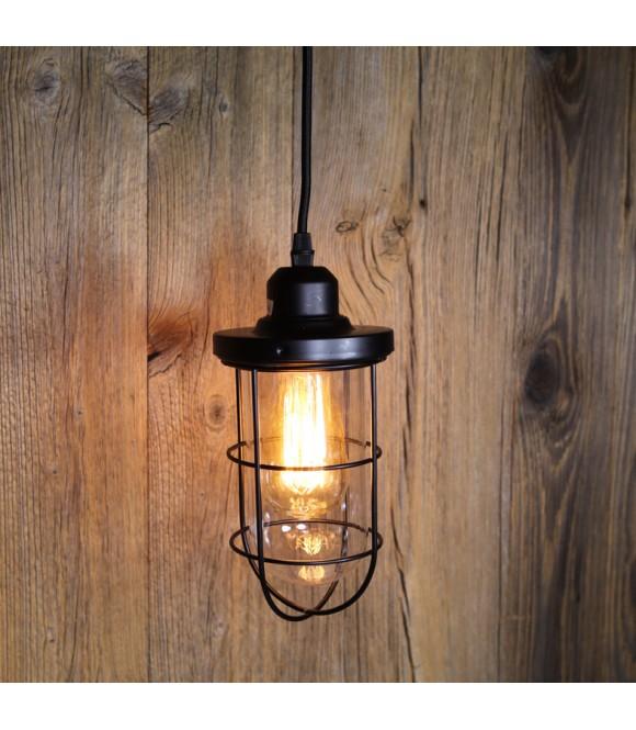 suspension vintage verre et cage pour ampoule filament. Black Bedroom Furniture Sets. Home Design Ideas