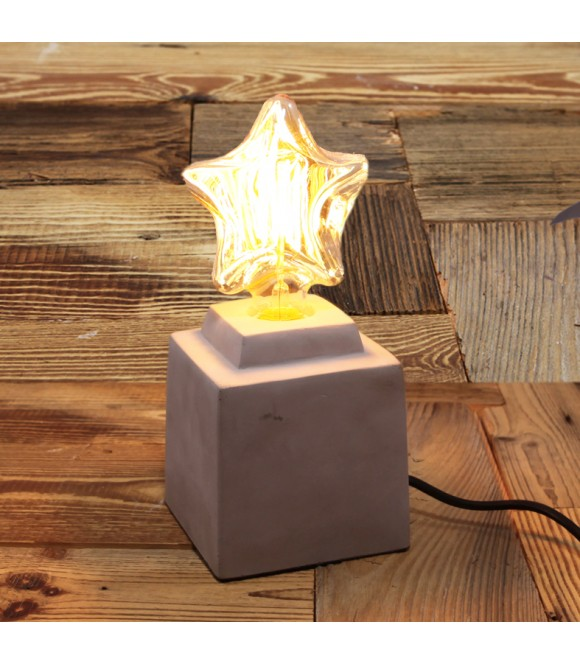 Lampe poser beton naturel pour ampoule a filament edison - Lampe a poser industriel ...