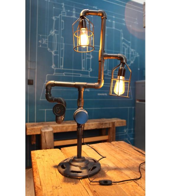 Lamper à poser Tube & Compteur Vintage Industriel