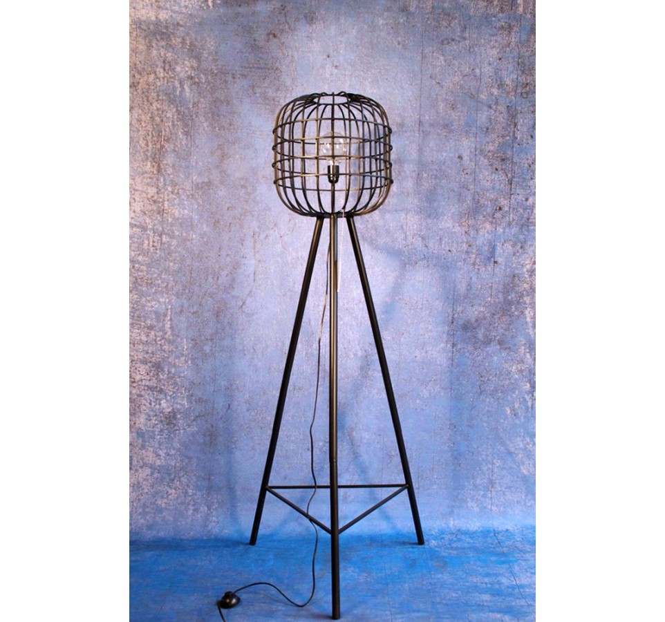 lampadaire cage vintage industriel. Black Bedroom Furniture Sets. Home Design Ideas