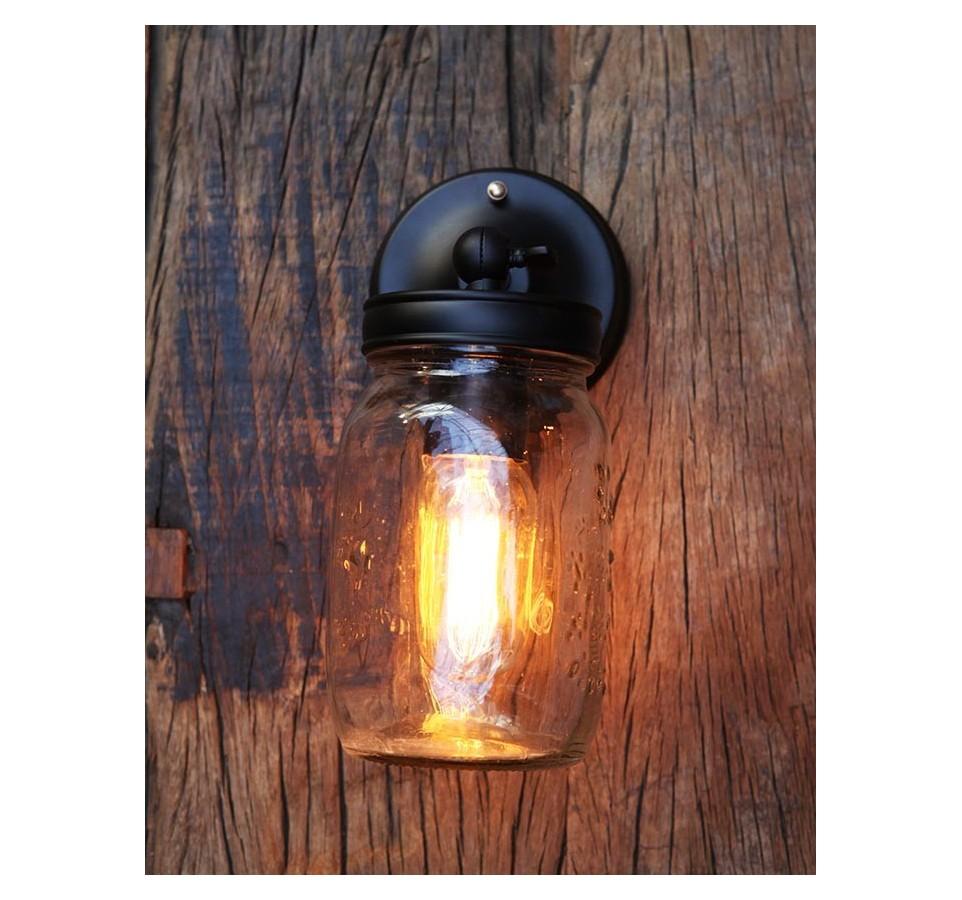 ... Applique Murale Vintage Industriel Mason Jar Ampoule à Filament Bocal  ...