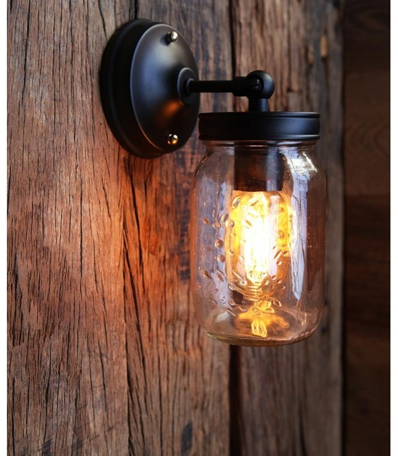 applique murale vintage cage industriel ampoule filament edison t10. Black Bedroom Furniture Sets. Home Design Ideas