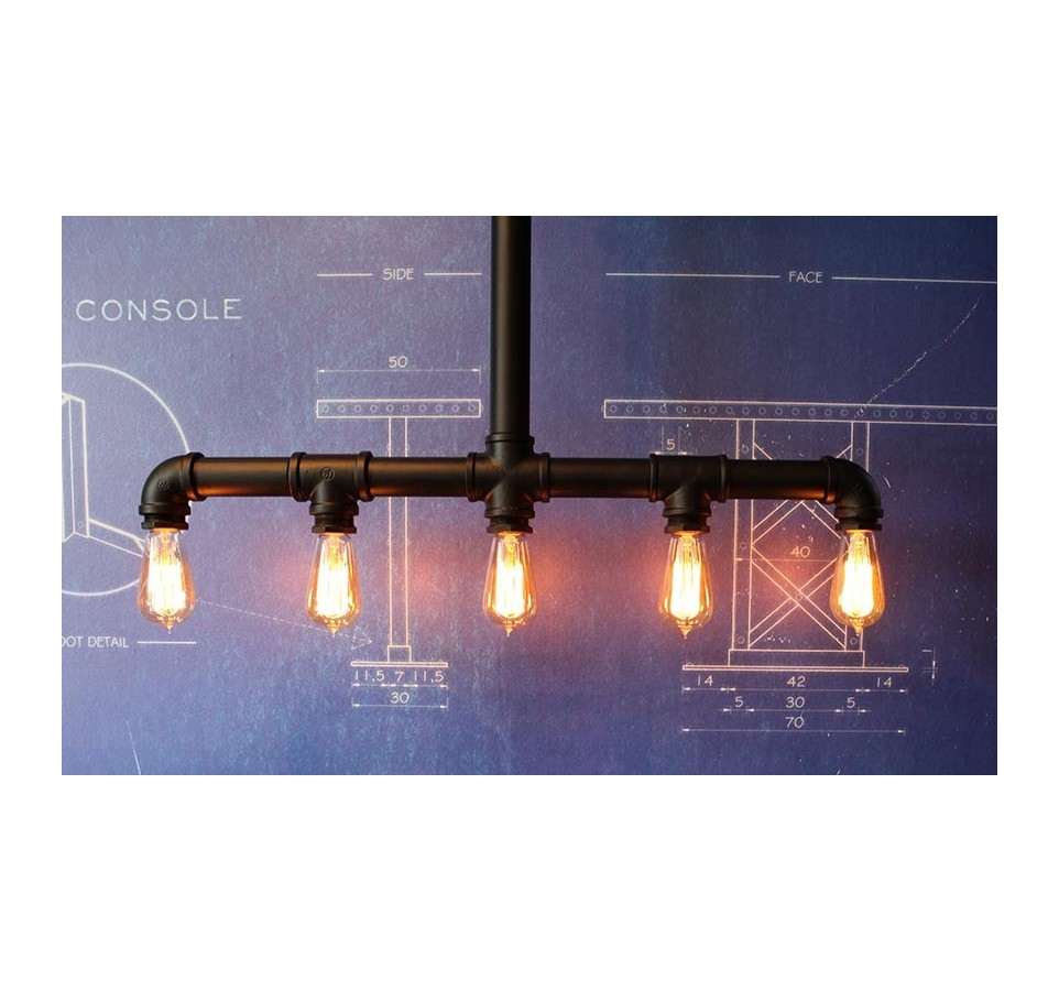 suspension tubes vintage style industriel pour 5 ampoules filament edison. Black Bedroom Furniture Sets. Home Design Ideas