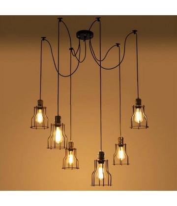 Suspension style vintage industriel 6 pendants a cage - Pour Ampoule a filament Edison
