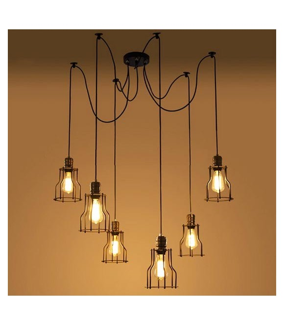 suspension retro 6 pendants a cage ampoules edison a filament vintage industriel