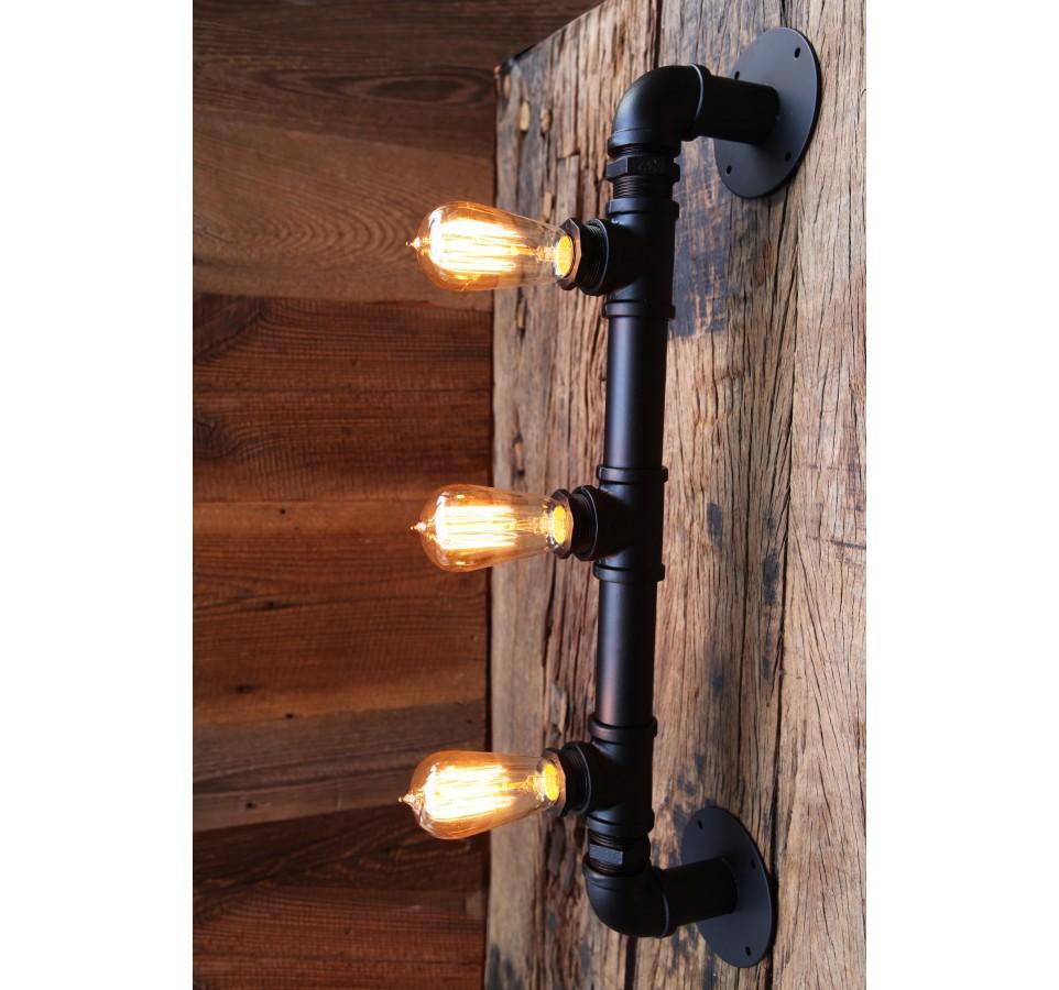 applique murale tube acier pour 3 ampoules filament edison