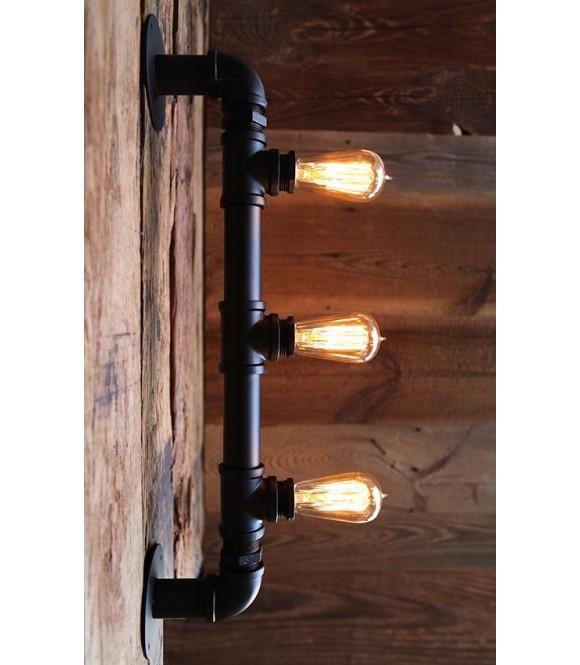 Applique murale tube acier 3 branches ampoules edison a filament vintage industriel