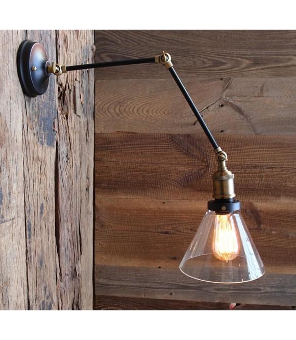 Applique murale articulee acier abat jour verre vintage industriel ampoule a filament edison