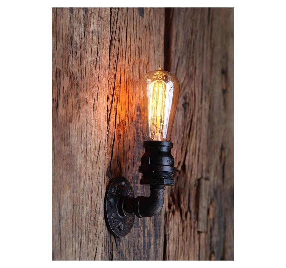 applique murale tube simple vintage industriel ampoule filament