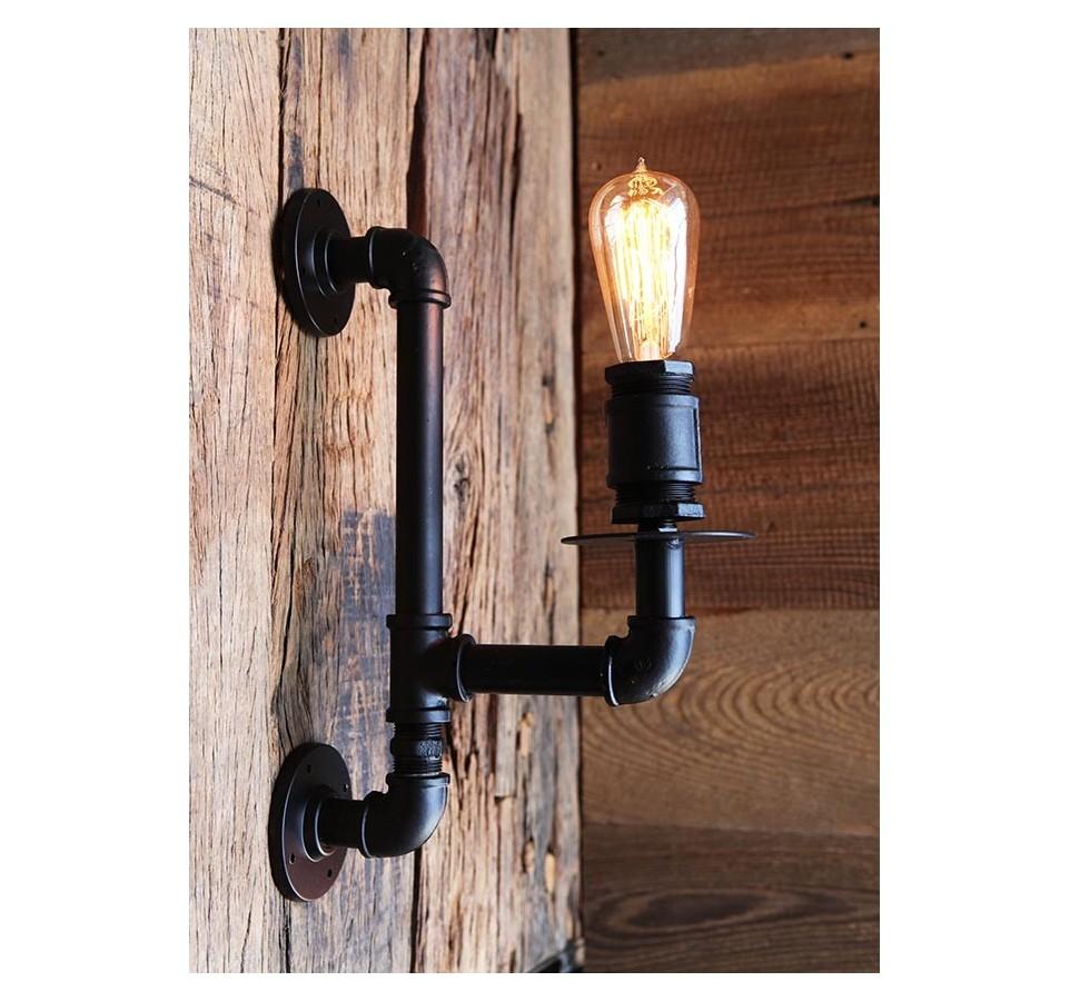 applique murale tube et raccord vintage industriel ampoule filament