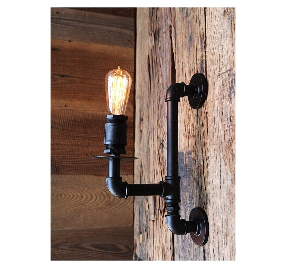 applique murale tube et raccord vintage industriel ampoule filament. Black Bedroom Furniture Sets. Home Design Ideas