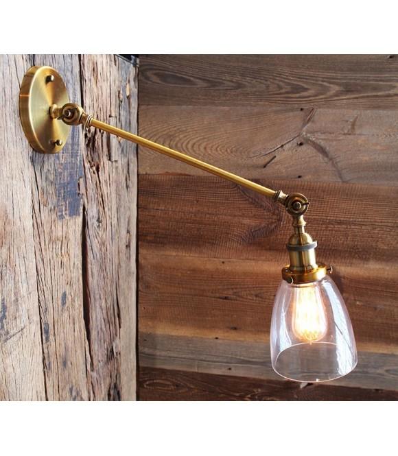 Applique vintage industriel laiton articulee ampoule a filament Edison