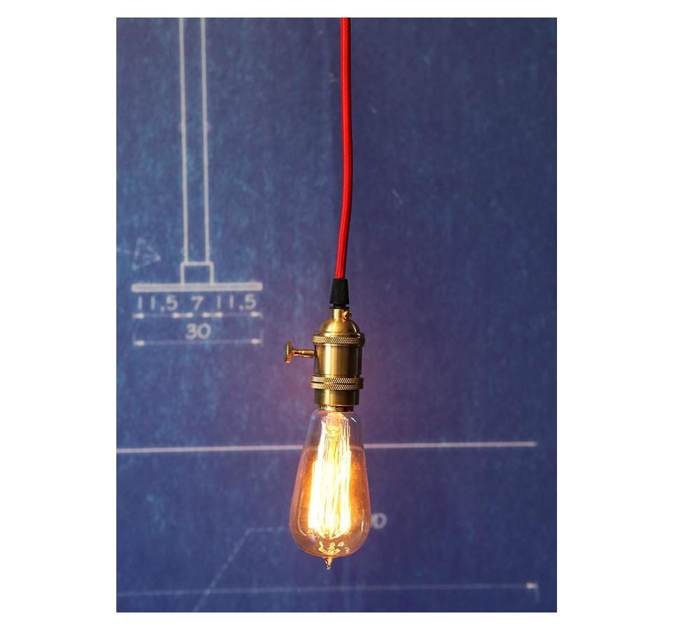 suspension douille cuivre a interrupteur pour ampoule filament edison. Black Bedroom Furniture Sets. Home Design Ideas