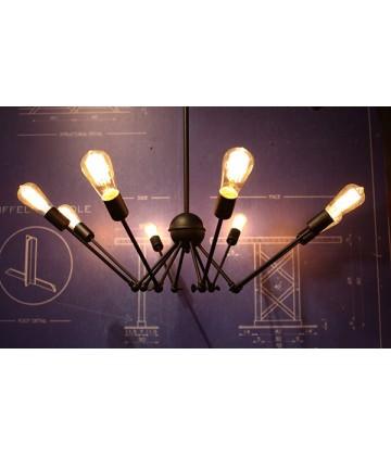 Suspension 8 bras acier articules - Pour Ampoules a filament Edison