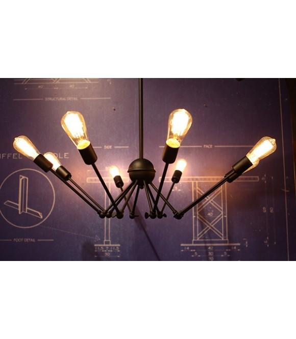 Suspension 8 bras acier articulés - Pour Ampoule à filament Edison