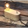 Lampe a poser - socle Bois Naturel arrondi style vintage industriel riel - Pour 2 ampoules à filament Edison