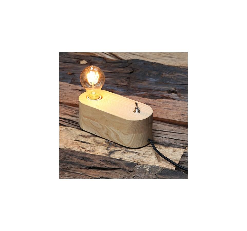 lampe poser socle bois naturel arrondi pour ampoule a. Black Bedroom Furniture Sets. Home Design Ideas