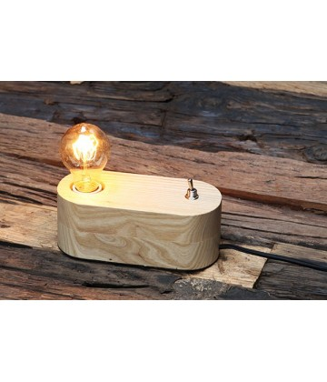 Lampe a poser - socle Bois Naturel arrondi style vintage industriel pour ampoule a filament Edison