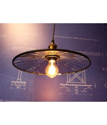 suspension suspension assiette a miroirs vintage style industriel pour ampoule filament edison. Black Bedroom Furniture Sets. Home Design Ideas