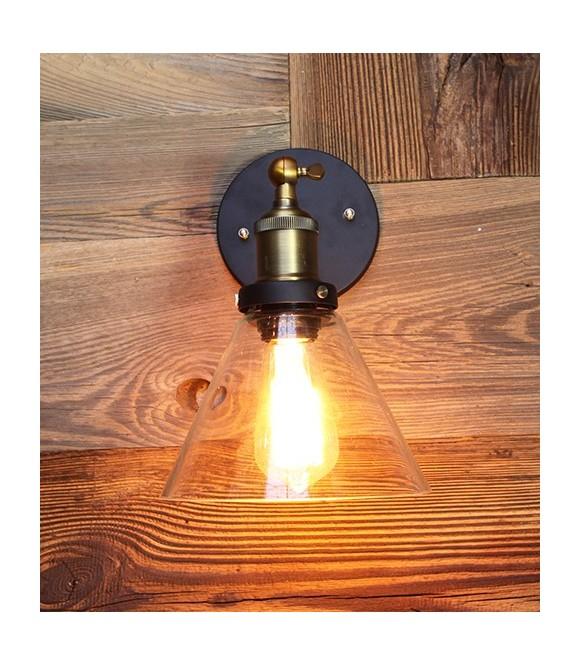 Applique laiton abat jour en verre transparent ampoule a filament Edison