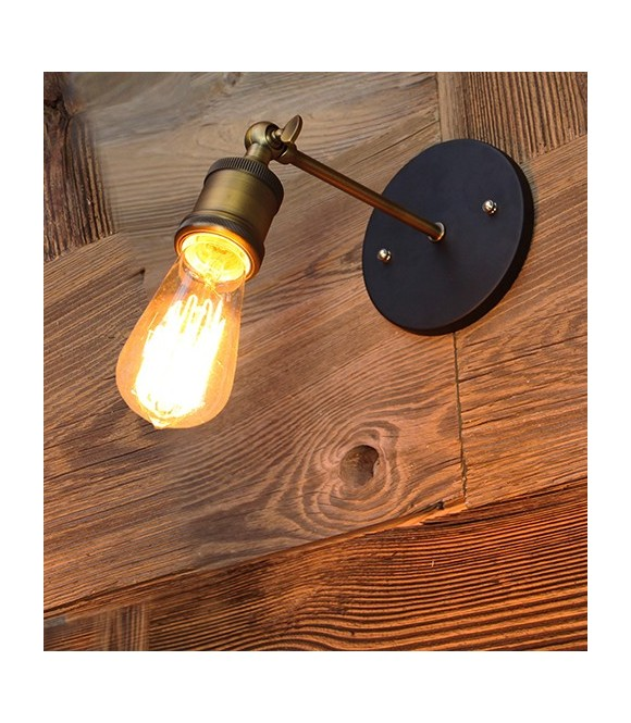 Applique laiton simple ampoule a filament Edison