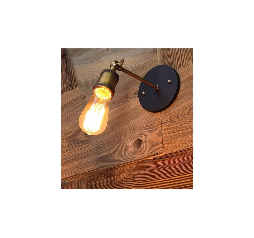 applique laiton simple vintage industriel pour ampoule a filament edison. Black Bedroom Furniture Sets. Home Design Ideas