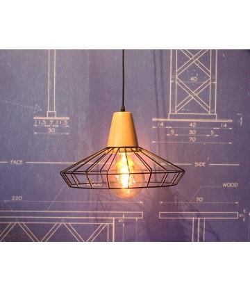 Suspension à grille acier et bois - Pour Ampoule a filament Edison