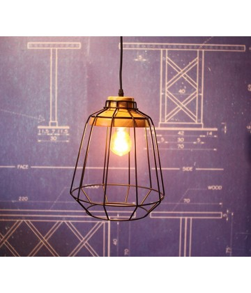 suspension grille acier et bois 2 pour ampoule a filament edison. Black Bedroom Furniture Sets. Home Design Ideas