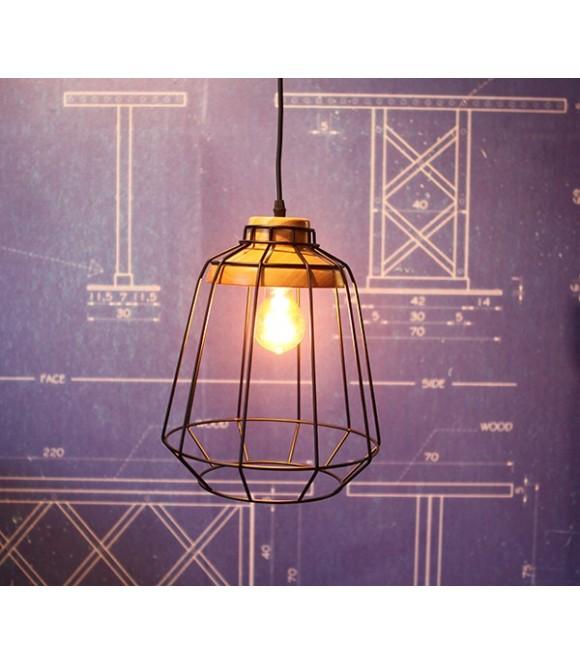 Suspension à grille acier et bois 2 - Pour Ampoule a filament Edison