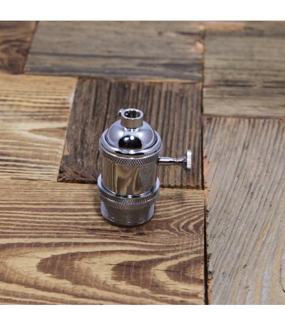 Douille Argent avec interrupteur style Vintage Industriel