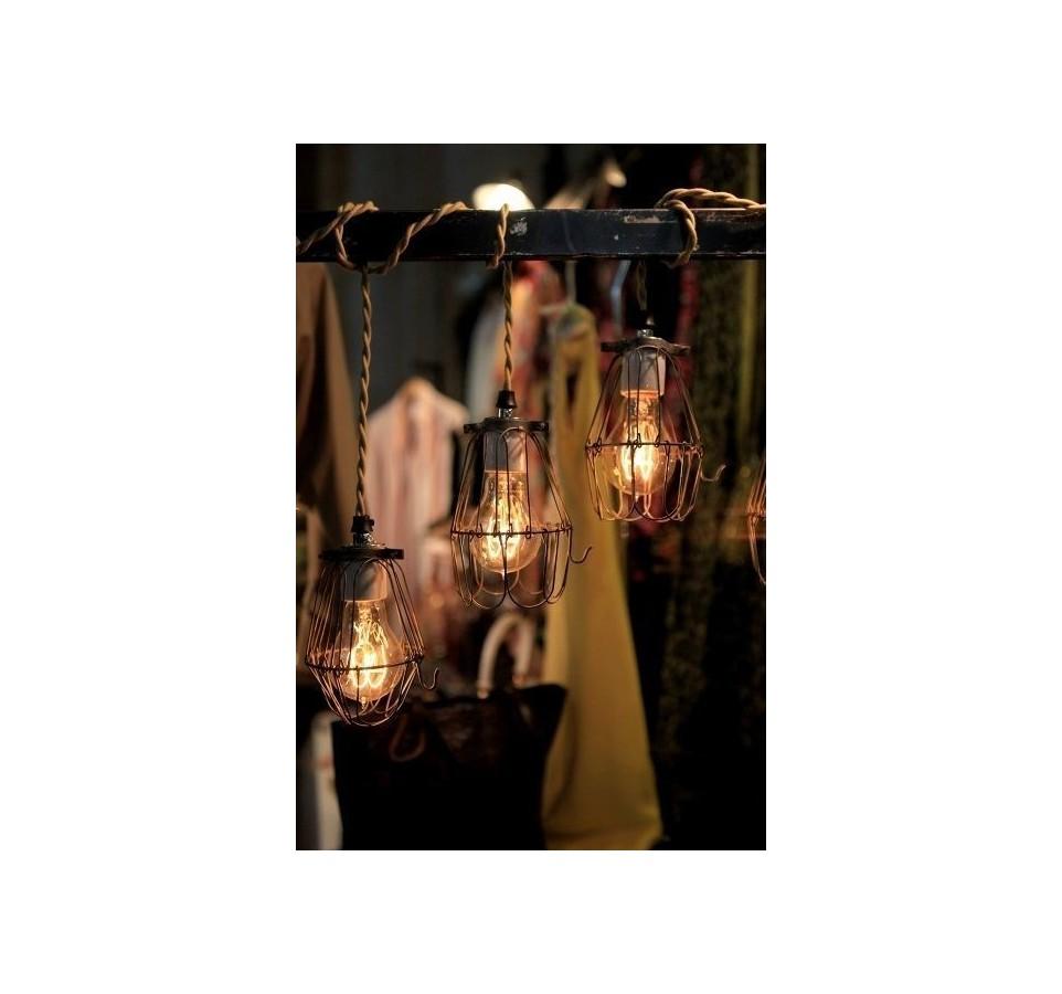 suspension vintage panier pour ampoule filament. Black Bedroom Furniture Sets. Home Design Ideas