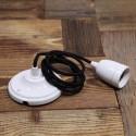 Suspension Douille porcelaine blanche et cable textile Noir - Pour Ampoule a filament Edison