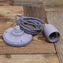 Suspension Douille porcelaine Gris et cable textile Noir & Blanc - Pour Ampoule a filament Edison
